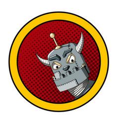 Pop art of an evil robot vector