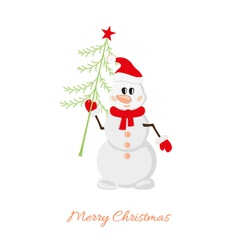 Postcard Snowman with Christmas tree vector image