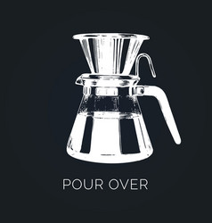 Pour over coffeemaker hand vector