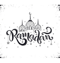 Ramadan lettering with mosque vector