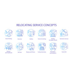Relocation planning concept icons set moving vector