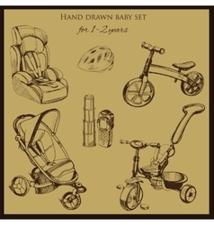 Retro hand drawn baby set for 1-2 years old vector