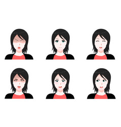 Set cartoon anime style expressions vector