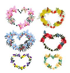 set floral frames in form hearts vector image
