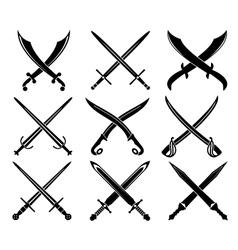 Set heraldic swords and sabres vector