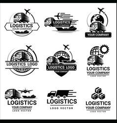 set logistics logos design vector image