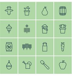 Set of 16 farm icons includes bush pot root vector