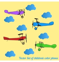 Set of children colored retro planes and vector