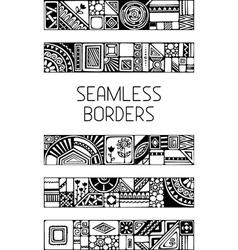 Set of seamless geometric borders vector image