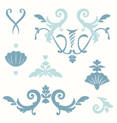 Set stylized elements rococo style curls vector