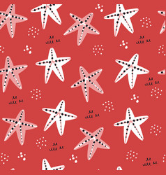 starfish hand drawn seamless pattern vector image