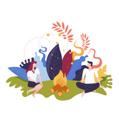 Summer night picnic couple sitting by bonfire in vector