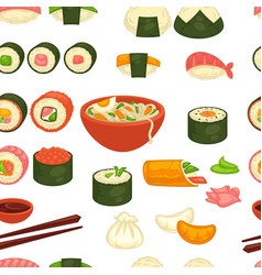 Sushi and noodles japanese cuisine seamless vector