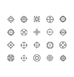 Target line icons aim for sniper shot military vector