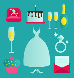 traditional wedding icons set with engaged couple vector image