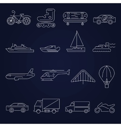 Transport icons outline set vector