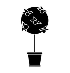 Tree pot decorative garden pictogram vector