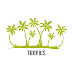 Tropical palm trees island silhouettes vector