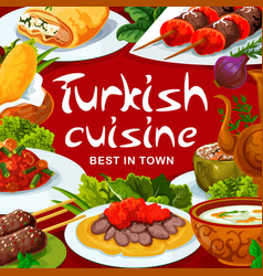 Turkish national food dishes restaurant menu cover vector