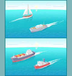 water transport ferry and sailing boat vector image