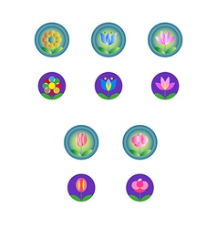 web and computing icons with flowers vector image