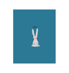 white sitting rabbit cartoon character vector image