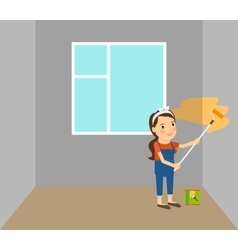 Woman making repairs in home vector image