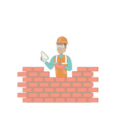 Young bricklayer working with spatula and brick vector