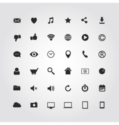 36 web media icons set vector image