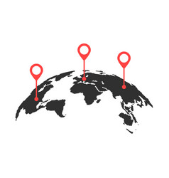 curved world map with red pins vector image vector image