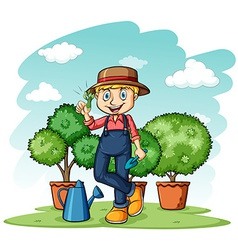 Gardener showing his thumb vector image vector image