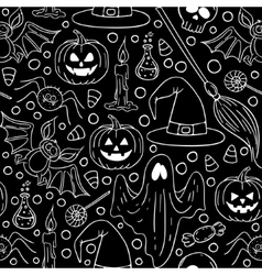 Halloween seamless Black and white pattern vector image vector image