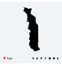 High detailed map of Togo with navigation pins vector image vector image