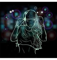 Rap attractive girl vector image vector image