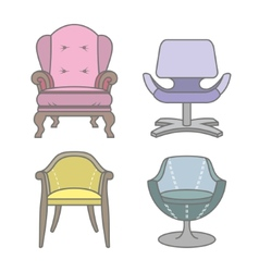 Set of colorfull armchairs vector image vector image