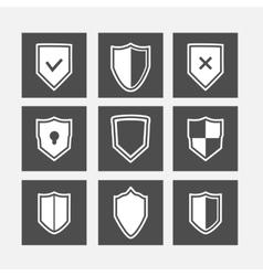 Shield flat icons set vector image