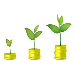 Coin tree grow vector image vector image