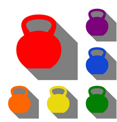 fitness dumbbell sign set of red orange yellow vector image