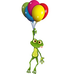 Frog on balloons vector image