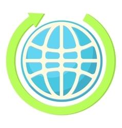 Globe and green arrow icon cartoon style vector image vector image