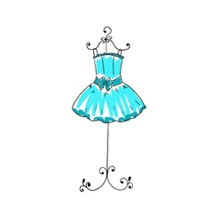 magnificent blue dress on a hanger vector image vector image