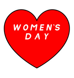 red heart with black path for womens day with vector image