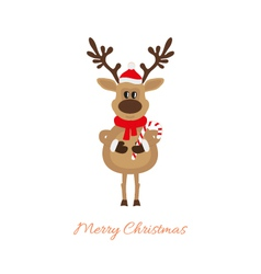 Reindeer of christmas with caramel cane vector