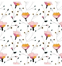 Wild flowers seamless pattern on white background vector image