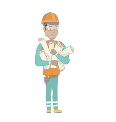 young hispanic engineer holding twisted blueprints vector image vector image