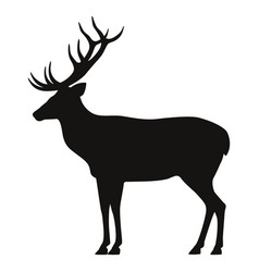 black silhouette horned deer icon side view vector image