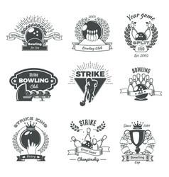 bowling monochrome vintage style emblems vector image