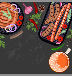grilled sausages and glass of beer vector image vector image