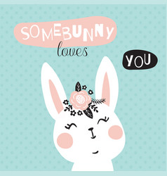 bunny loves you vector image