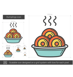 dumplings line icon vector image vector image